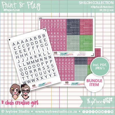 PP/202/AN - Print&Play - SHILOH COLLECTION - Alphas & Numbers