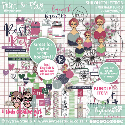 PP/202/PNG/SB - Print&Play - SHILOH COLLECTION - PNG Stamp Bundle for digital scrapbookers - Incl. English+Afrikaans elements (185 stamps)