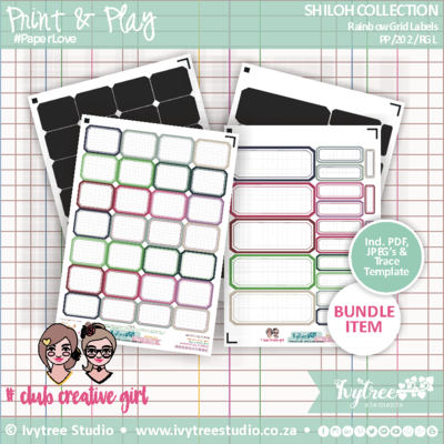PP/202/RGL - Print&Play - SHILOH COLLECTION - Rainbow Grid Labels Kit - NEW!