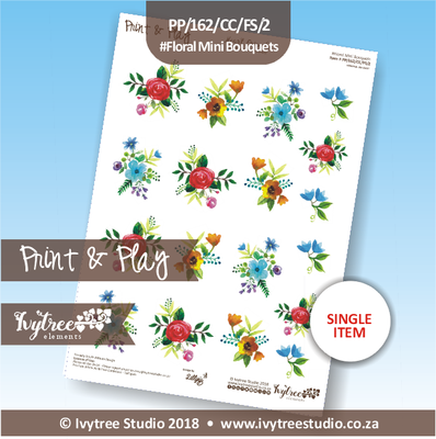 PP/162/CC/FS/2 - Print&Play Heart Friends - Cute Cuts - FLOWER SHOP - Floral Mini Bouquets