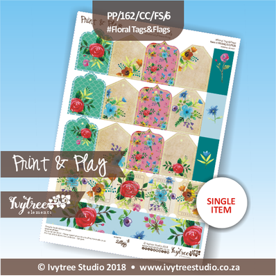 PP/162/CC/FS/6 - Print&Play Heart Friends - Cute Cuts - FLOWER SHOP - Floral Tags&Flags
