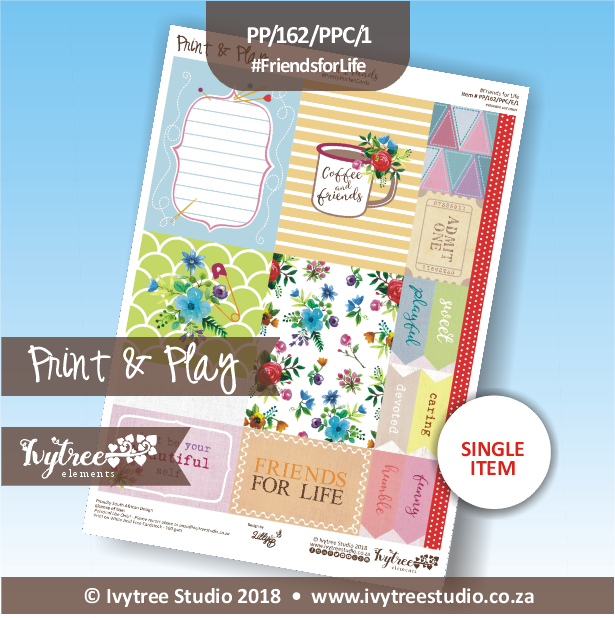 PP/162/PPC/1 - Print&Play Heart Friends - Pretty Pocket Cards - Friends for Life