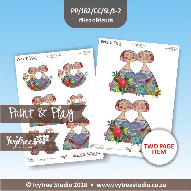 PP/162/CC/SL - Print&Play Heart Friends - Cute Cuts - Simply Lady - Heart Friends