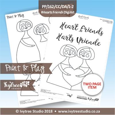 PP/162/CC/DA - Print&Play Heart Friends - Cute Cuts - DIGI ART
