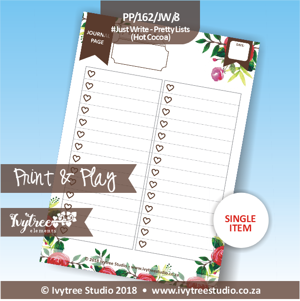PP/162/JW/8 - Print&Play - Just Write - Pretty Lists (Hot Choco)