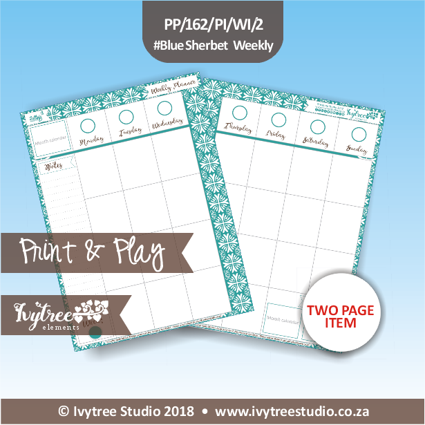 PP/162/PI/WE/2 - Print&Play Heart Friends - PLAN IT! - Weekly Inserts - Blue Sherbet