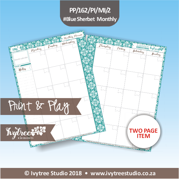 PP/162/PI/MI/2 - Print&Play Heart Friends - PLAN IT! - Monthly Inserts - Blue Sherbet