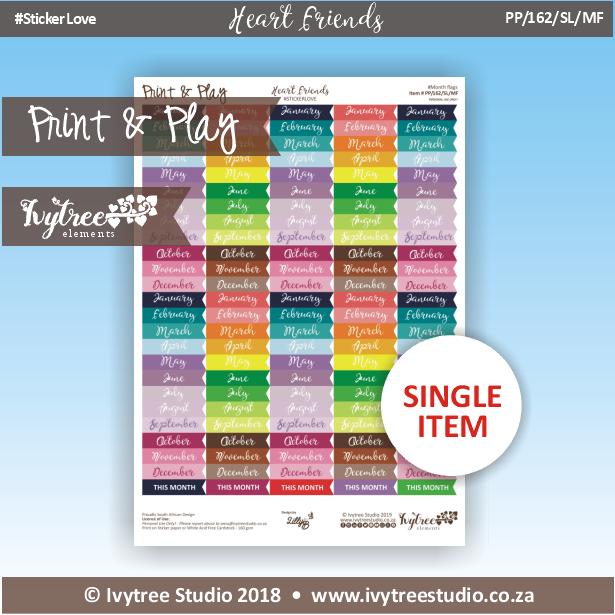 PP/162/SL/MF - Print&Play Heart Friends - STICKER LOVE! - Month Flags