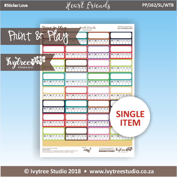 PP/162/SL/WTB - Print&Play Heart Friends - STICKER LOVE! - Weekly Tracker Boxes