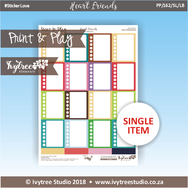 PP/162/SL/LB - Print&Play Heart Friends - STICKER LOVE! - List Boxes