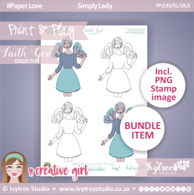 #PP/192/SL/DS/1 - GRACELILLY ARTWORK - Faith Girl Collection - Incl. PDF & PNG lined stamp
