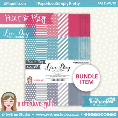 PP/191/PL/SP - Print&Play - Love Day Paperlove Simply Pretty bundle - (A4 x 18)