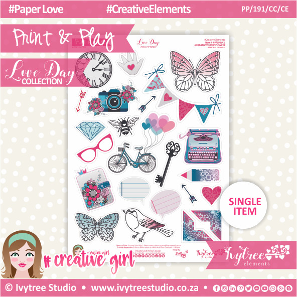 PP/191/CC/CE - Print&Play - CUTE CUTS - Creative Elements - Love Day Collection