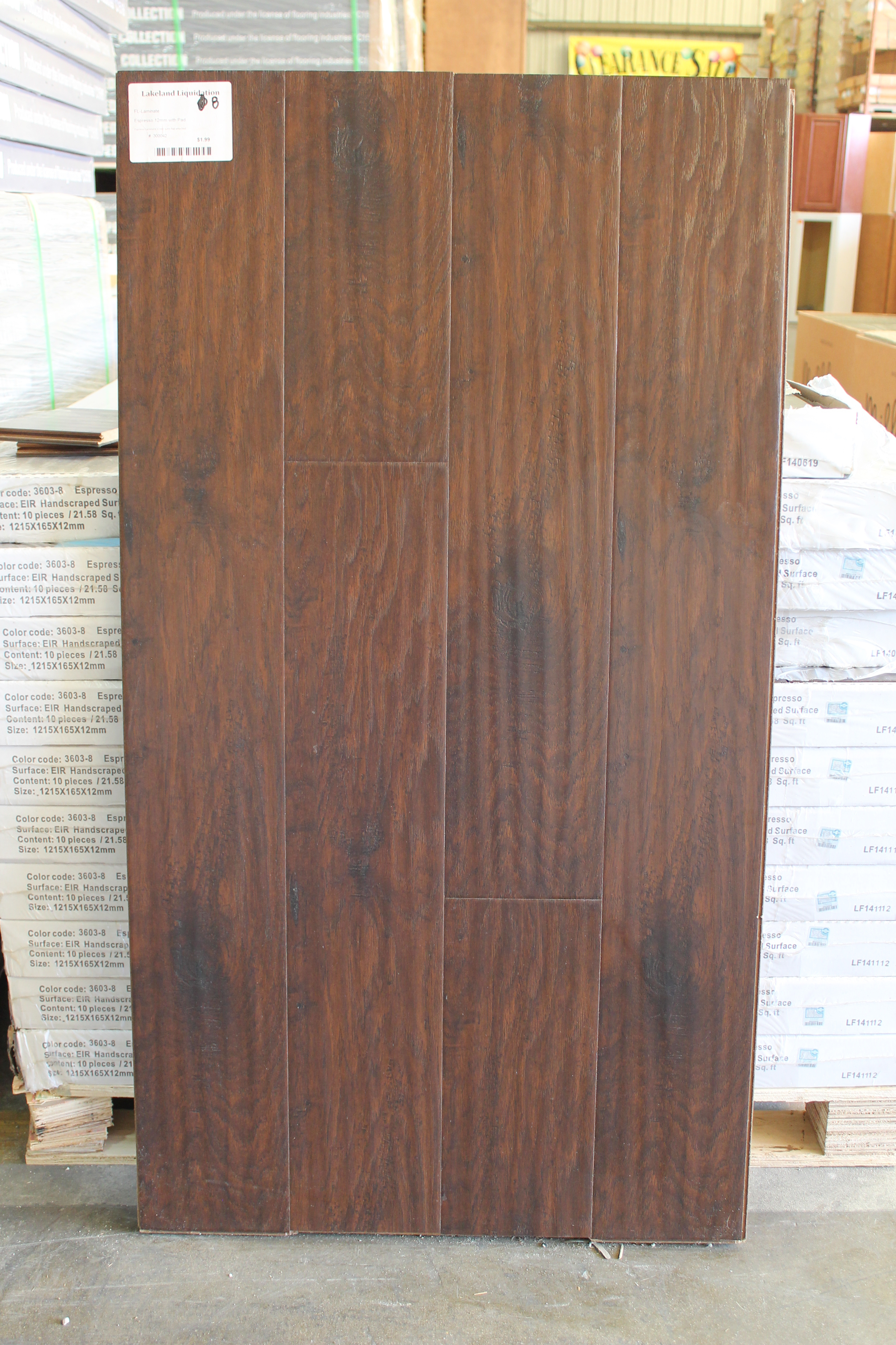 Espresso Laminate 12mm with the pad attached 300042