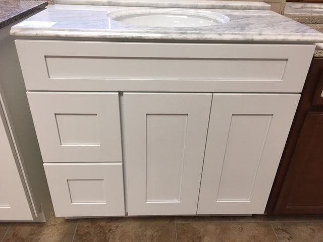 """White Shaker 36"""" vanity with 2 drawers on left 750304"""