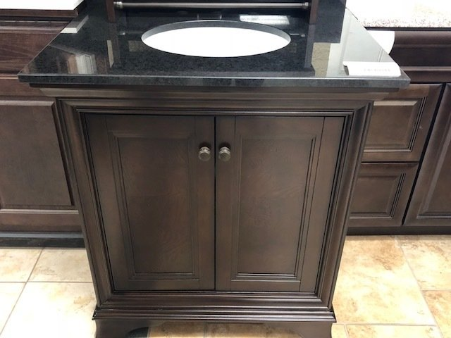 "30"" Brown Vanity with Black Granite Top 750220"