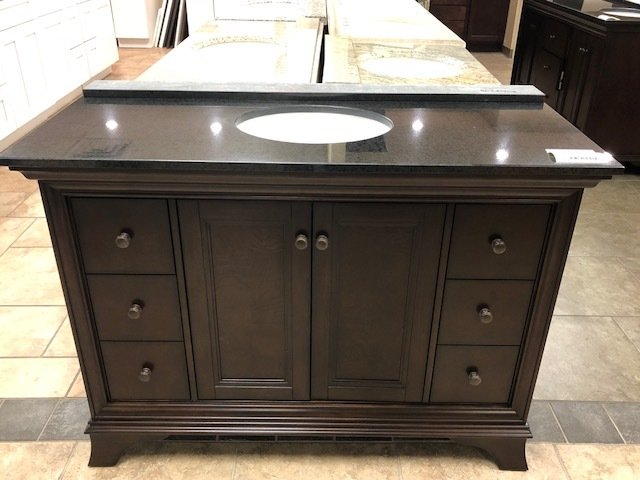 "48"" Brown Vanity with Black Granite Top 750222"