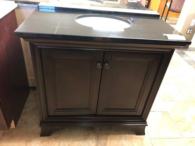 "36"" Brown Vanity with Black Granite Top - ON SALE 750221"