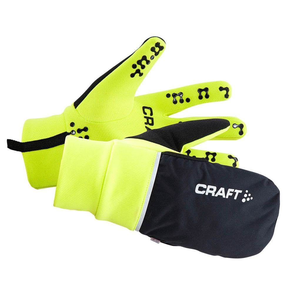 CRAFT GUANTI HYBRID WEATHER GLOVE NERO/GIALLO FLUO