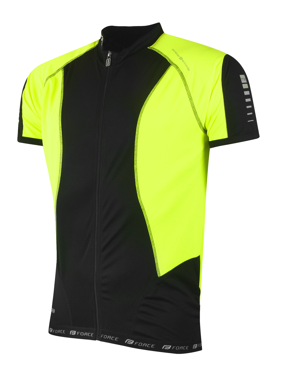 MAGLIA MANICHE CORTE FULL ZIP FORCE T10 BLACK-FLUO