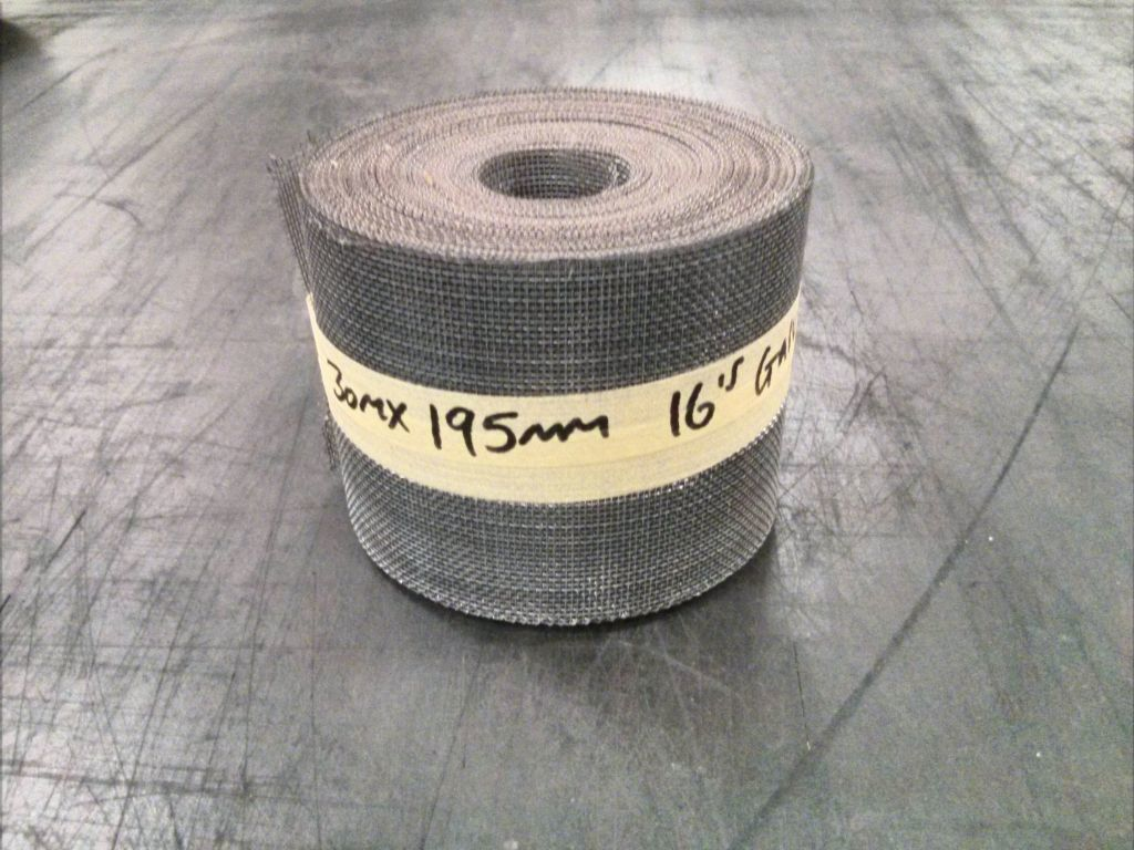 30m x 195mm galvanised woven 16 mesh: 1.21mm aperture OC17