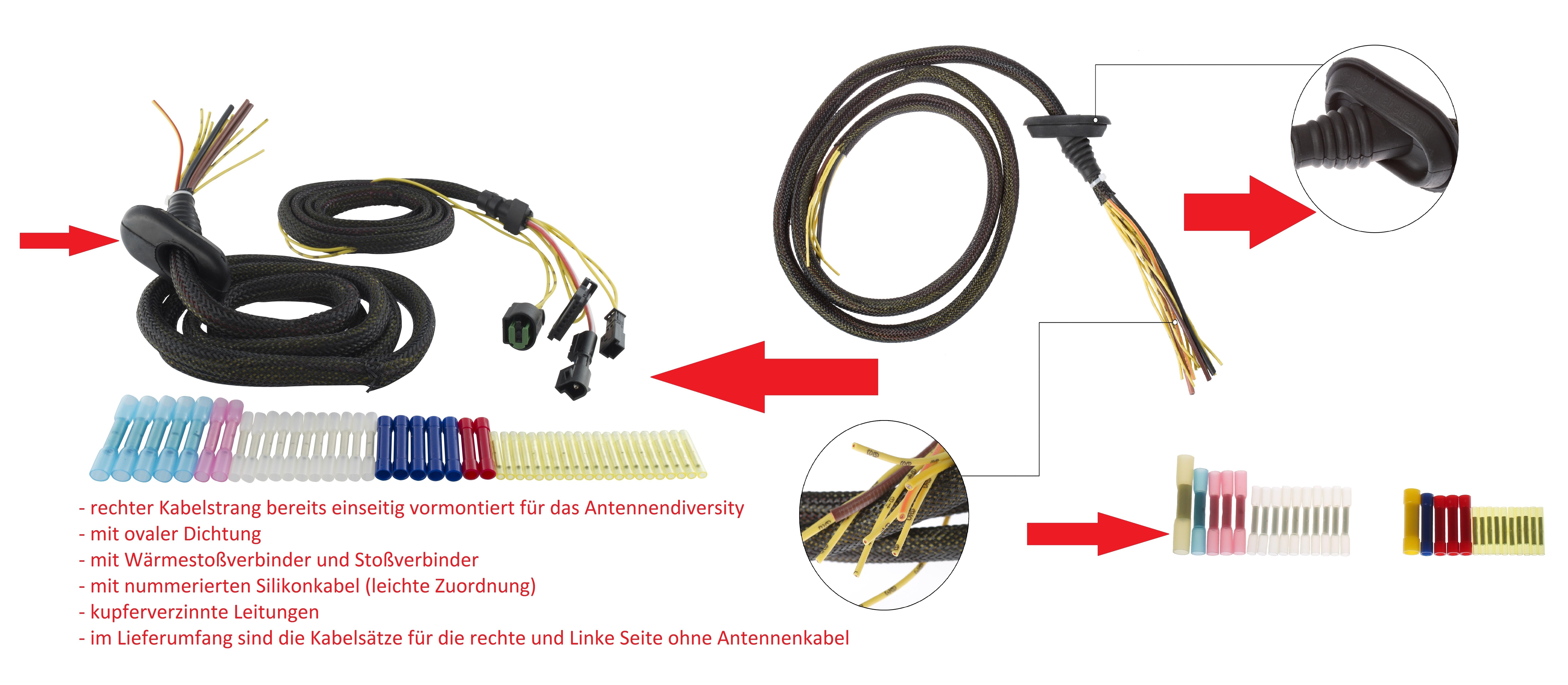 SenCom Kabelbaum Reparatursatz BMW E61 Heckklappe links+ rechts 201606162N