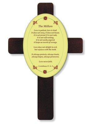 Mahogany Wood Cross with Insert 7 x 11