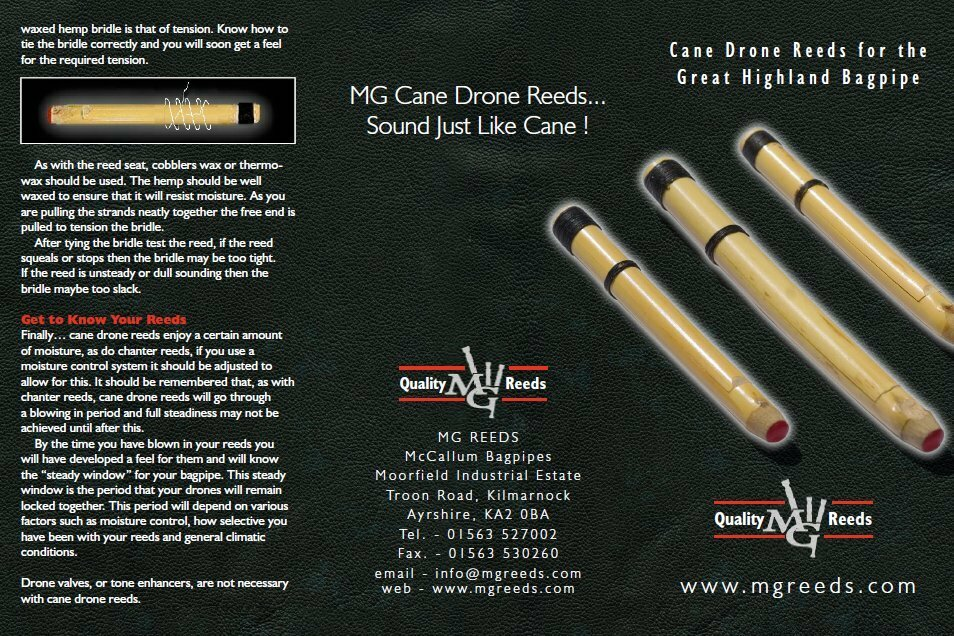 MG Cane Drone Reeds for pipes highland bagpipe
