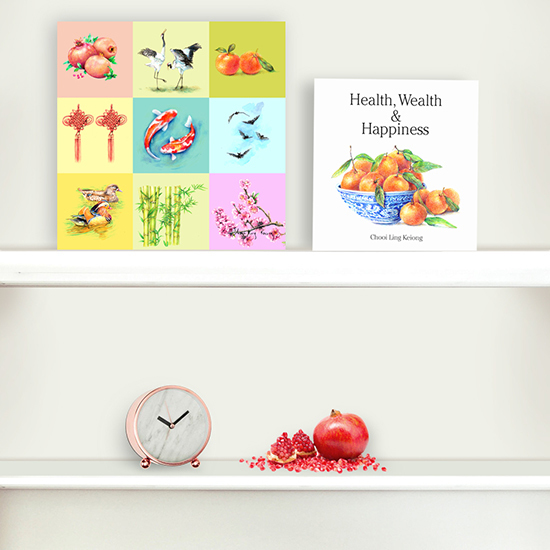 Book Canvas Print Gift Set Health Wealth Happiness And