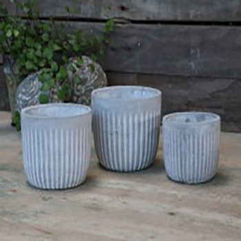 French Grey Set of Planters