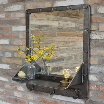 Engineer Mirror with Shelf and Hooks