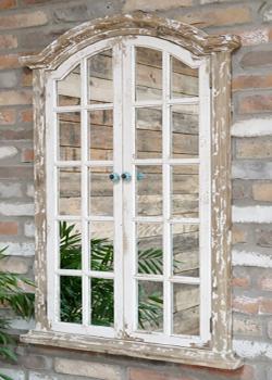 Rustic White Garden Mirror