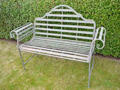 Elegant Aged Metal Garden Bench