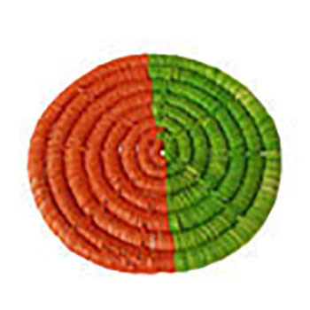 Set of Four Raffia coaster, orange and lime, 9cm