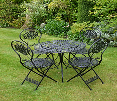 The Mitzy Garden Table with 4 Round Back Chairs