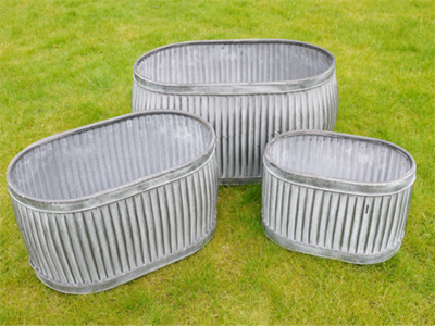 Set of 3 Oblong  Galvanised Tubs