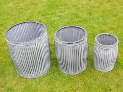 Set of 3 Galvanised Tubs