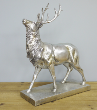 Silver Finish Stag On Base