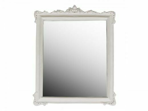 Rose Edged Mirror in Antique White