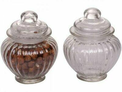 Set of Two Glass Pumpkin Storage Jars