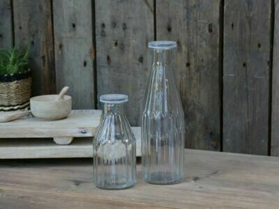 Set of 2 Glass Bottles with Lids