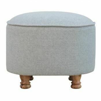 Light Grey Tweed Oval Footstool
