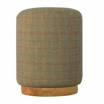 Multi Tweed Round Footstool