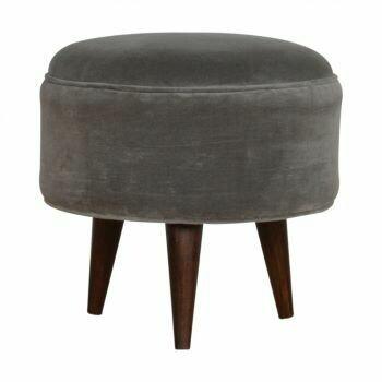 Grey Velvet Nordic Style Footstool