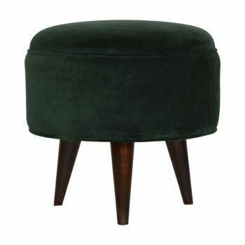Emerald Green Velvet Nordic Style Footstool