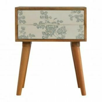 Green Floral Screen Printed Bedside