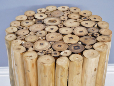 Teak Wooden Pole Side Table / Stool