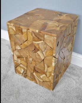 Teak Wood Jigsaw Side Table  / Stool