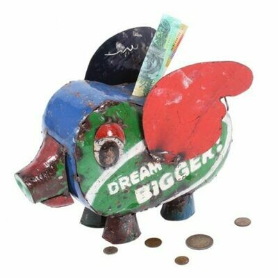 Recycled Piggy Bank Sculpture