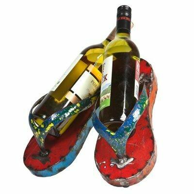 Recycled Flip Flop Wine Holder Sculpture